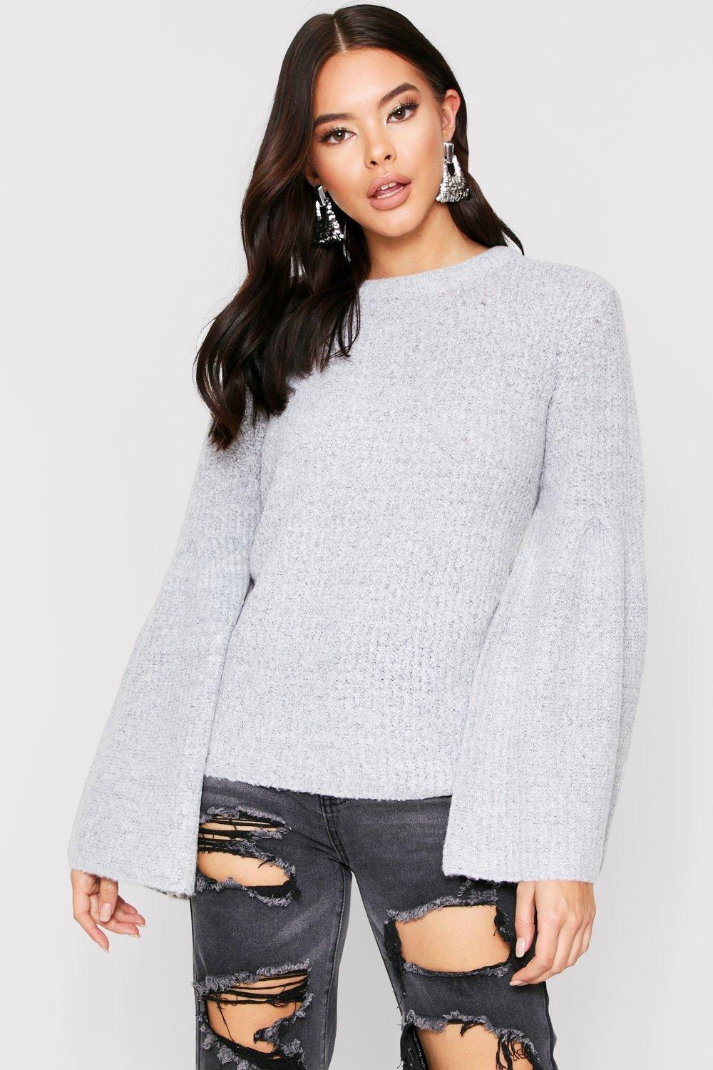 boohoo Womens Flared Sleeve Ribbed Jumper - Grey - L, Grey