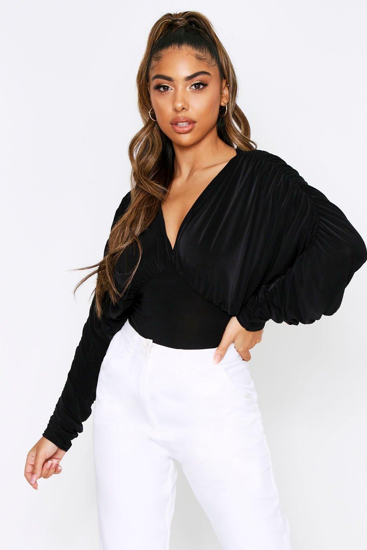 boohoo Womens Slinky Ruched Batwing Bodysuit - Black - 12, Black