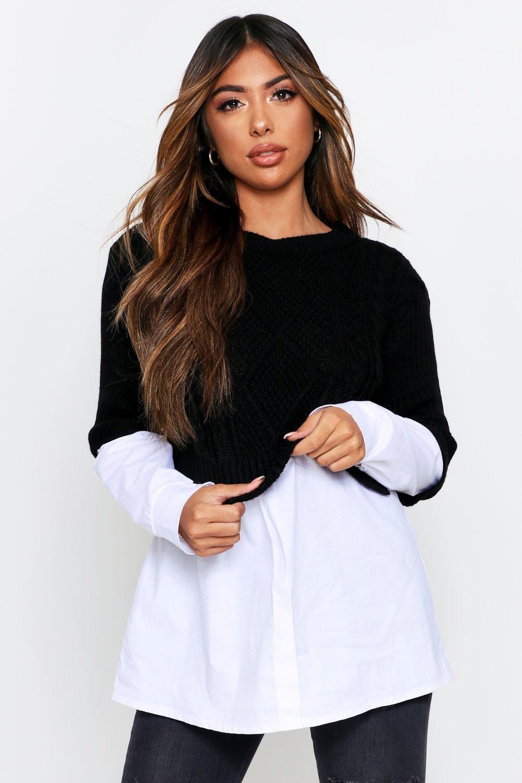 Womens Pullover mit Zopfmuster - schwarz - L, Schwarz - Boohoo.com
