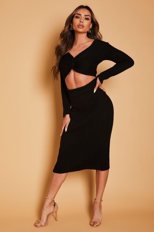 boohoo Womens Twist Front Knitted Jumper & Skirt Co Ord - Black - M, Black