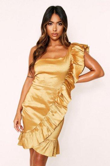 Gold Taffeta One Shoulder Ruffle Dress