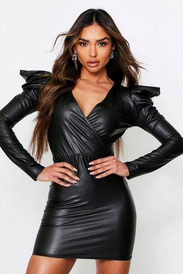 Black Pu Puf Sleeve Wrap Mini Dress