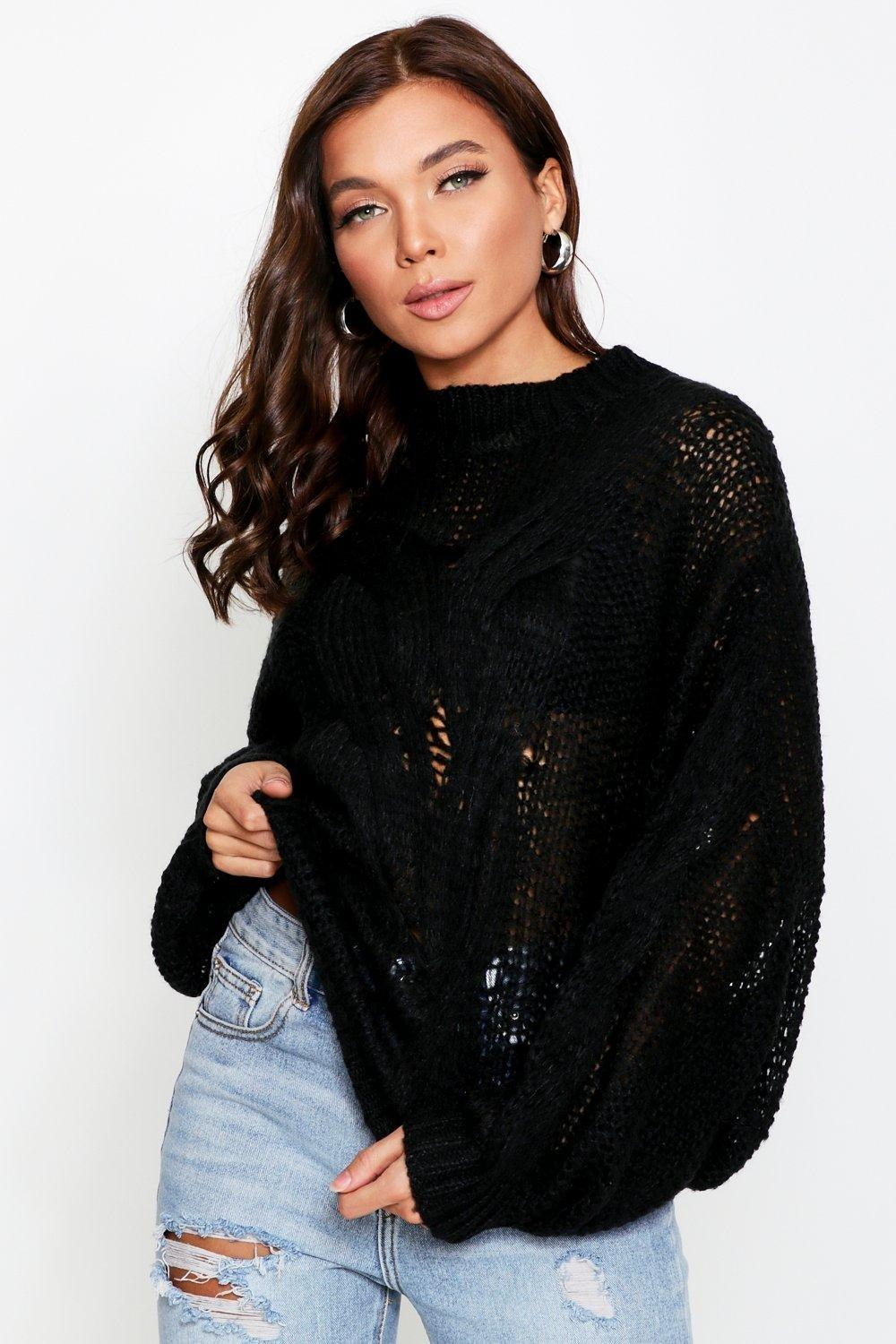 Womens Mohair Look Oversized Cable Knit Jumper - black - S/M, Black - Boohoo.com
