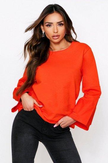 Orange Denim Panel Sleeve Sweater