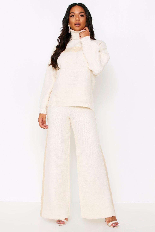boohoo Womens Premium Heavy Knitted Stripe Set - White - L, White