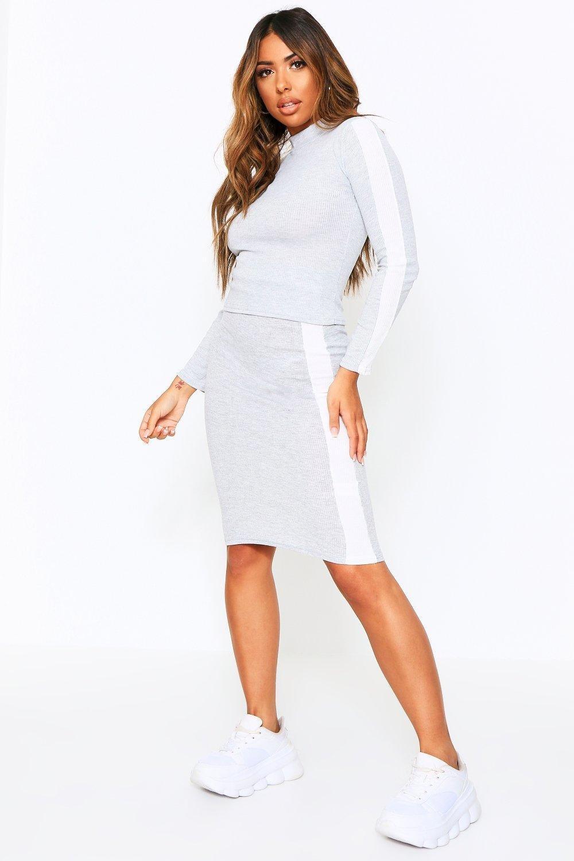 Sale Nightwear Ribbed Sports Stripe High Neck Top + Mini Co-ord