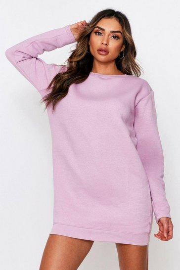 Lilac Fleece Sweater Dress