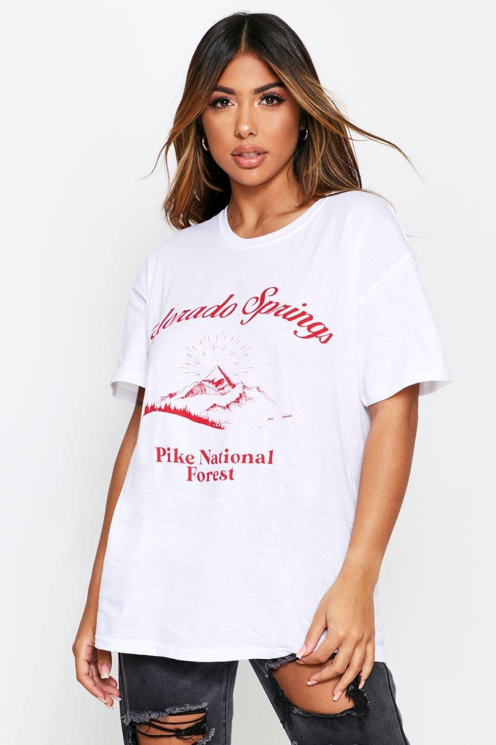 Womens Colorado Springs Oversized T-Shirt - white - S, White - Boohoo.com