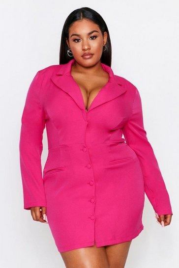 Fuchsia Button Front Plunge Blazer Dress