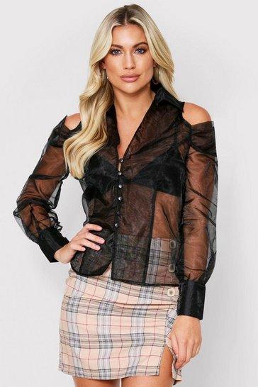 Black Cutout Shoulder Organza Shirt
