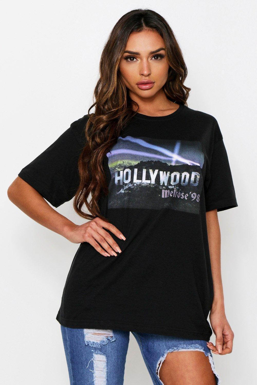 Womens Hollywood Lights Oversized T-Shirt - Black - S, Black - Boohoo.com