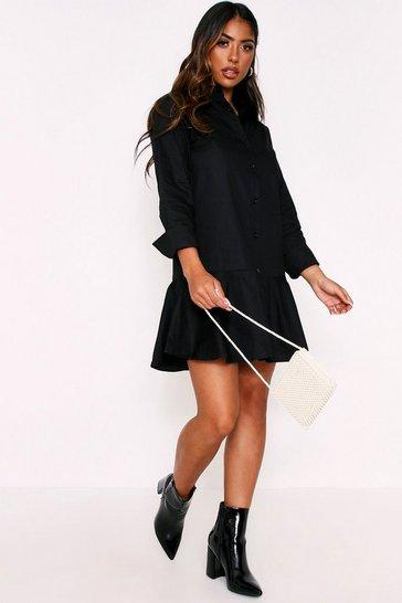 Black Frill Hem Shirt Dress