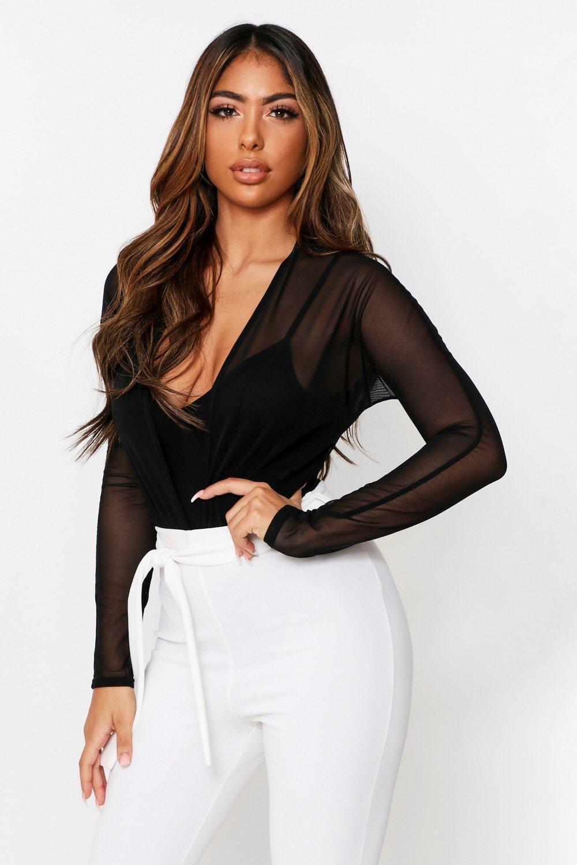 boohoo Womens Mesh Plunge Double Layered Thong Bodysuit - Black - 6, Black
