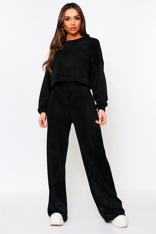 boohoo Womens Open Back Knitted Lounge Set - Black - 14, Black
