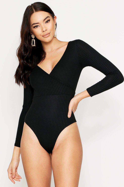 boohoo Womens Ribbed Tie Front Plunge Thong Bodysuit - Black - 14, Black