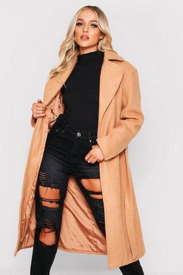 Camel Belted Wool Look Long Coat