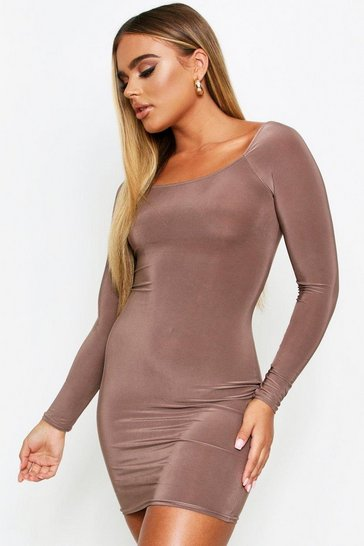 Taupe Square Neck Long Sleeve Bodycon Dress