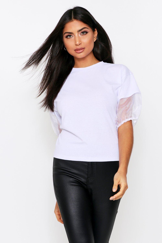 Womens T-Shirt mit Organza-Ärmeln - Weiß - 34, Weiß - Boohoo.com