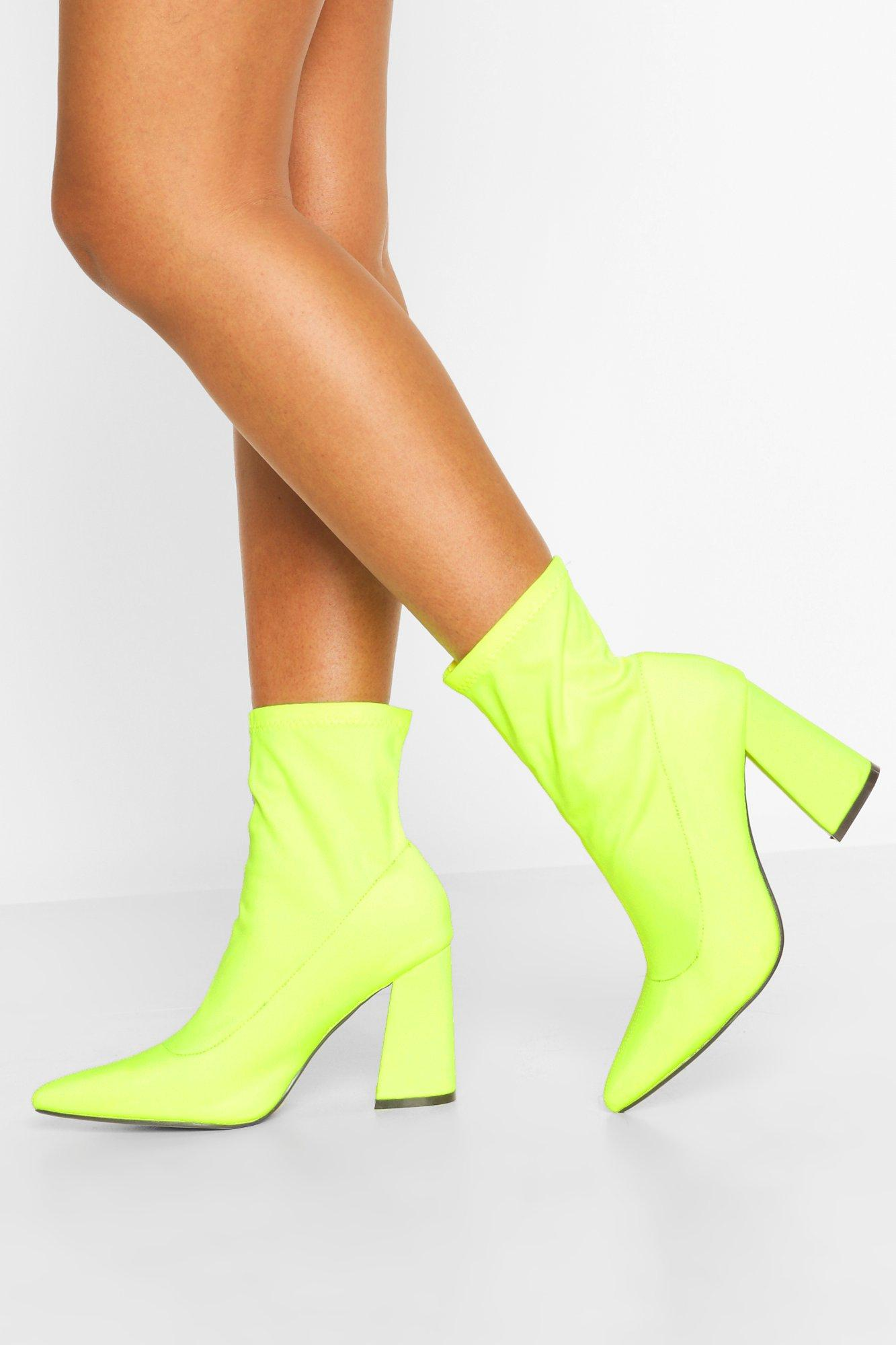 Womens Neoprene Heeled Ankle Boots - Green - 4, Green