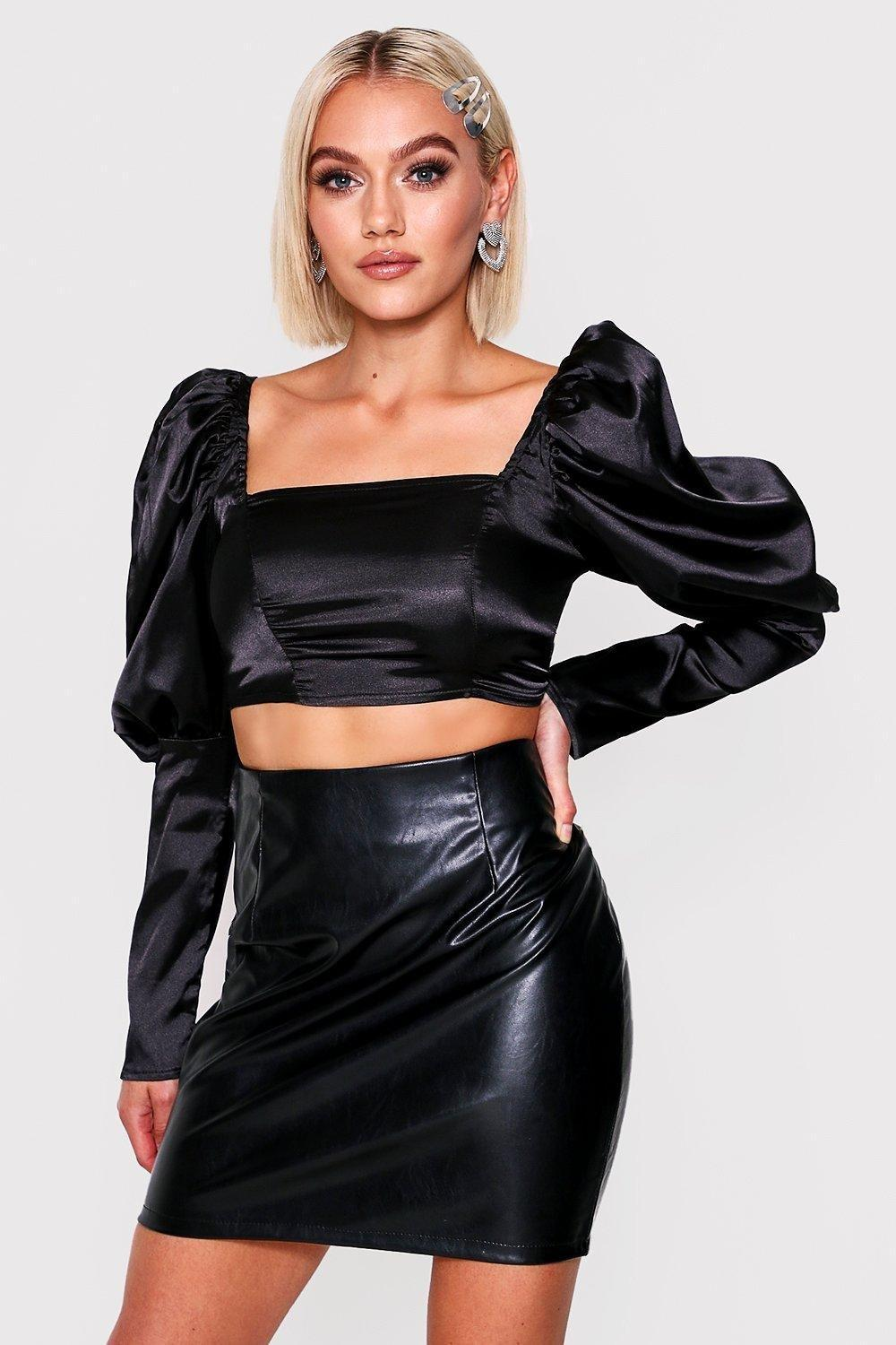 boohoo Womens Satin Puff Sleeve Crop Top - Black - 10, Black
