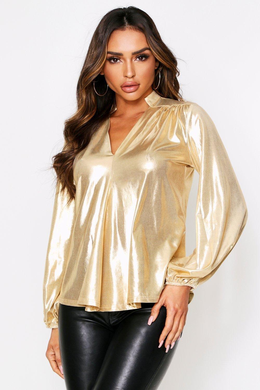 boohoo Womens Balloon Sleeve Metallic Oversized Shirt - Metallics - 16, Metallics