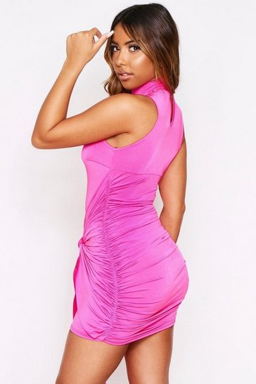Cerise exaggerated Tie Slinky Dress
