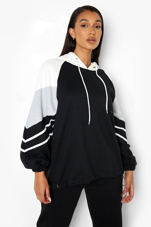 boohoo Womens Colour Block Stripe Detail Oversized Hoody - Black - Xl, Black