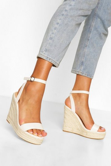 Cream Wide Fit 2 Part Espadrille Wedges