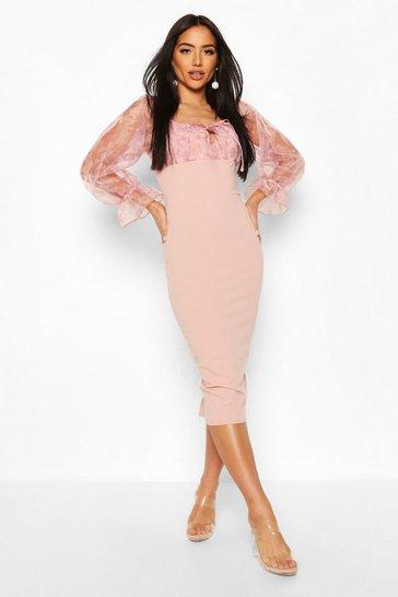 Pink Floral Organza Bardot Midi Dress