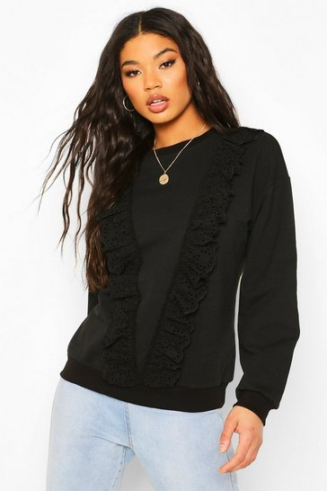 Black Broderie Trim Sweater