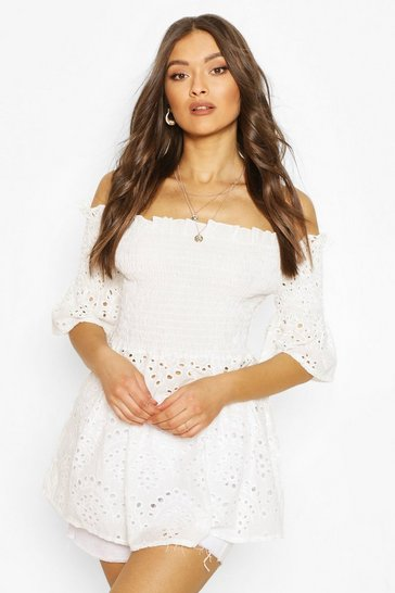 White Broderie Shirred Bardot Top