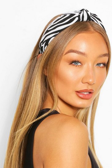 Black Twist Knot Zebra Print Headband