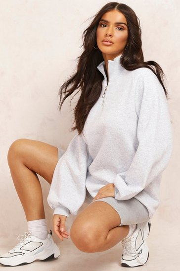 Grey marl Mix & Match 1/2 Zip Sweat Dress