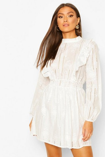 Ivory Broderie Anglais Open Back Dress