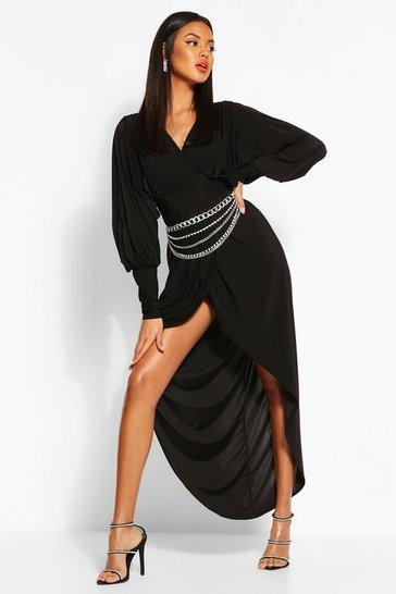 Black Wrap Extreme Puff Sleeve Maxi Dress