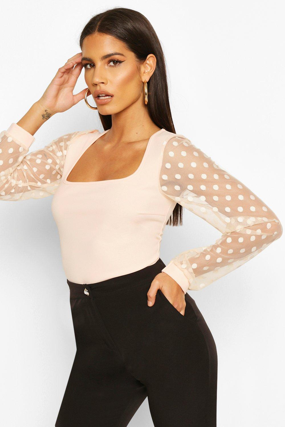 boohoo Womens Polka Dot Mesh Sleeve Square Neck Bodysuit - Pink - 12, Pink