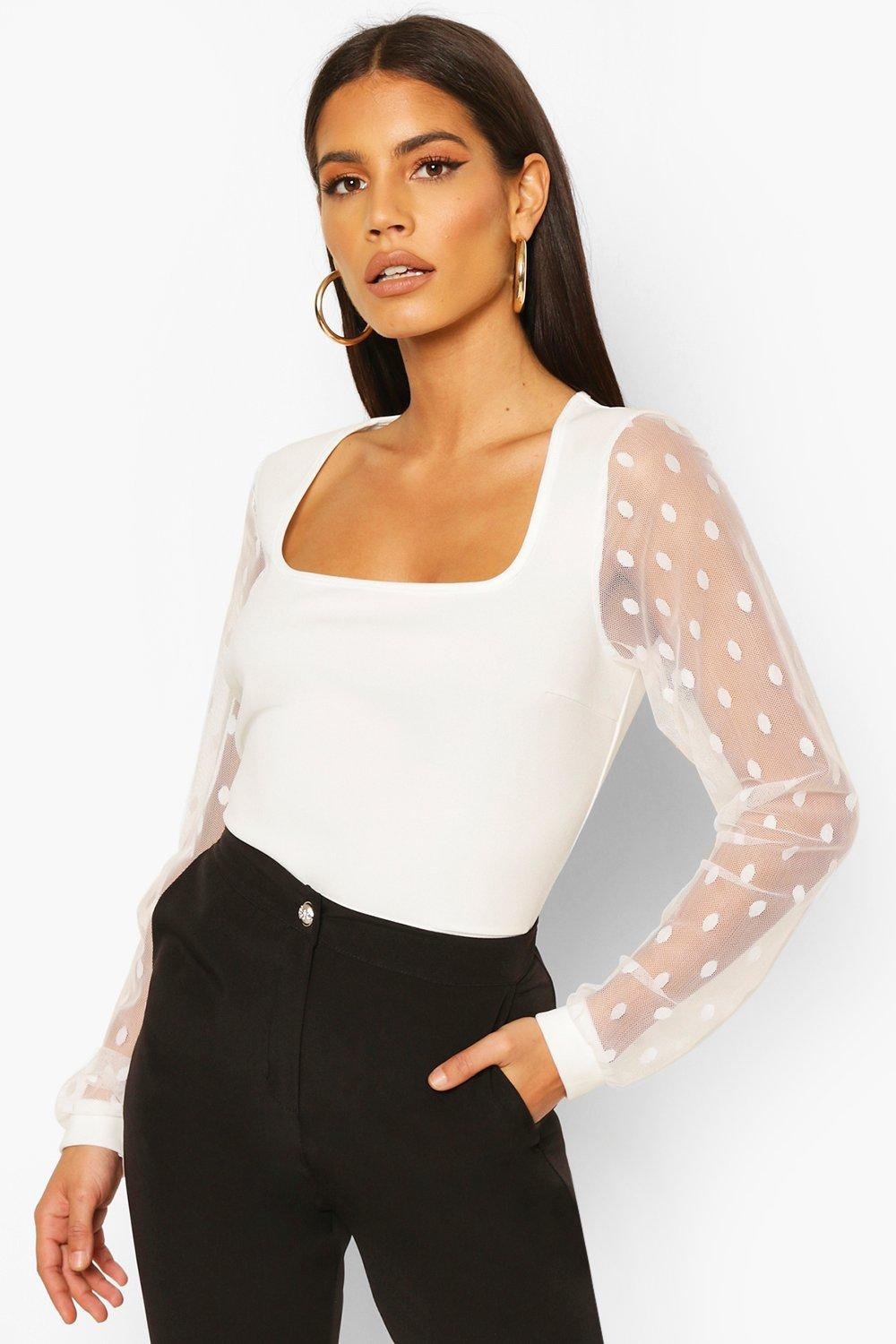 boohoo Womens Polka Dot Mesh Sleeve Square Neck Bodysuit - White - 10, White