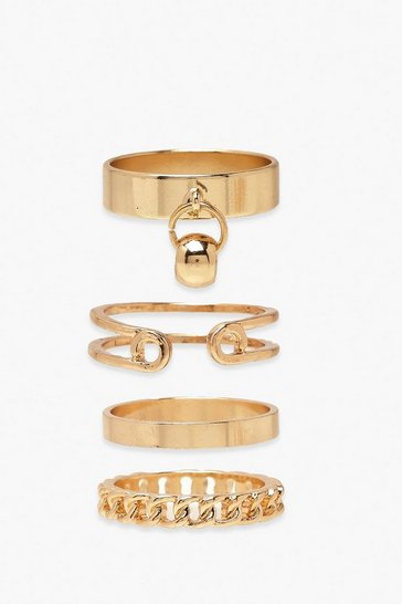 Gold Ring & Chain Detail Ring 4 Pack