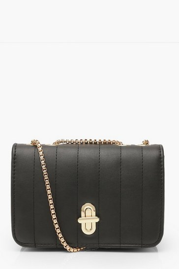 Black Quilted Lock & Chain Cross Body Bag