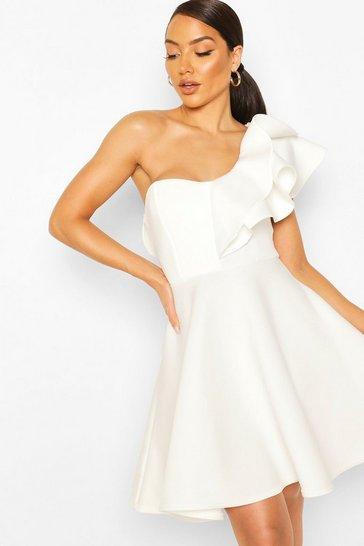 White Double Ruffle One Shoulder Skater Dress
