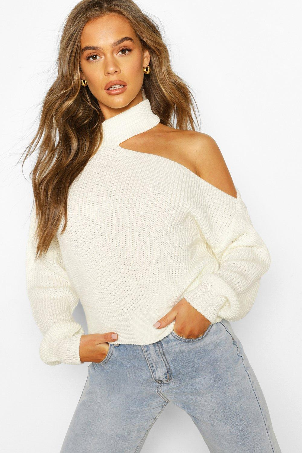 boohoo Womens Cut Out Knitted Jumper - White - S, White