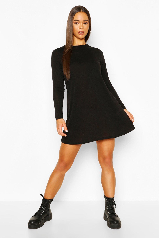 boohoo Womens Soft Knit Crew Neck Long Sleeve Swing Dress - Black - 12, Black