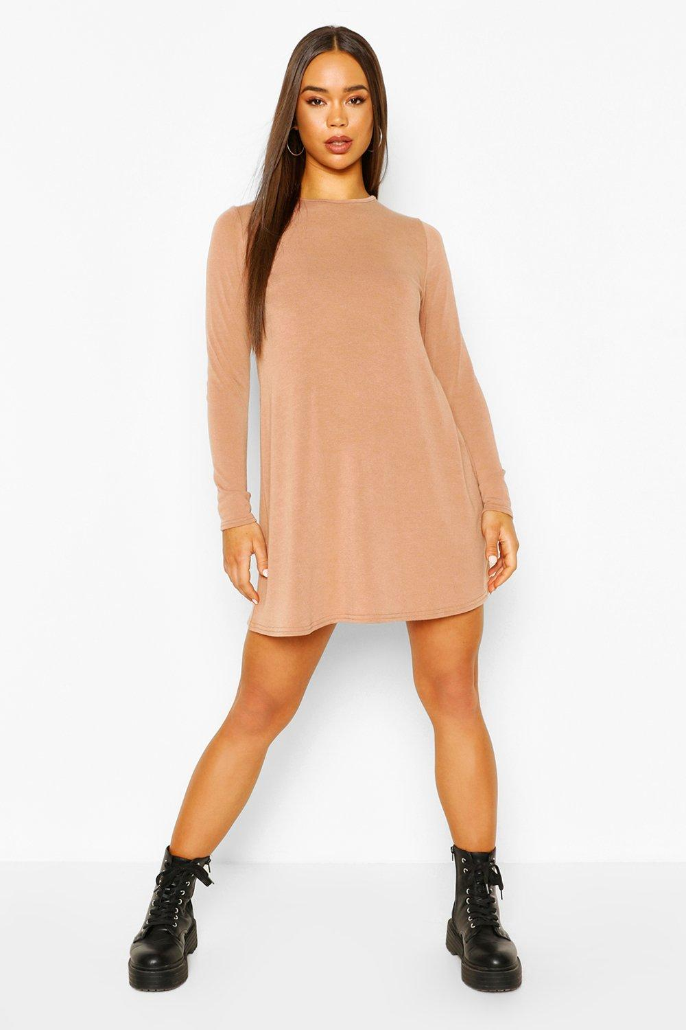 boohoo Womens Soft Knit Crew Neck Long Sleeve Swing Dress - Beige - 10, Beige