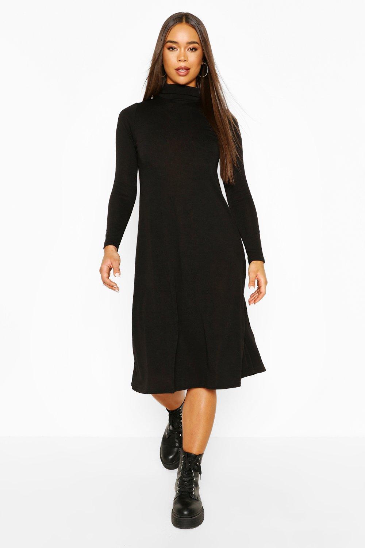 boohoo Womens Soft Knit Midi Skater Dress - Black - 8, Black