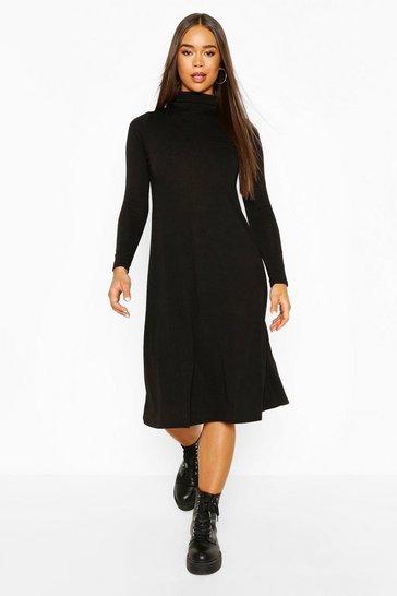 Black Soft Knit Midi Skater Dress