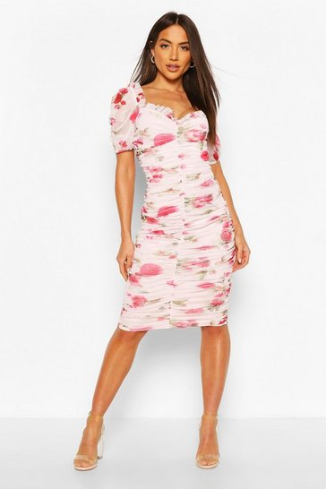 White Mesh Floral Long Sleeve Ruched Midi Dress