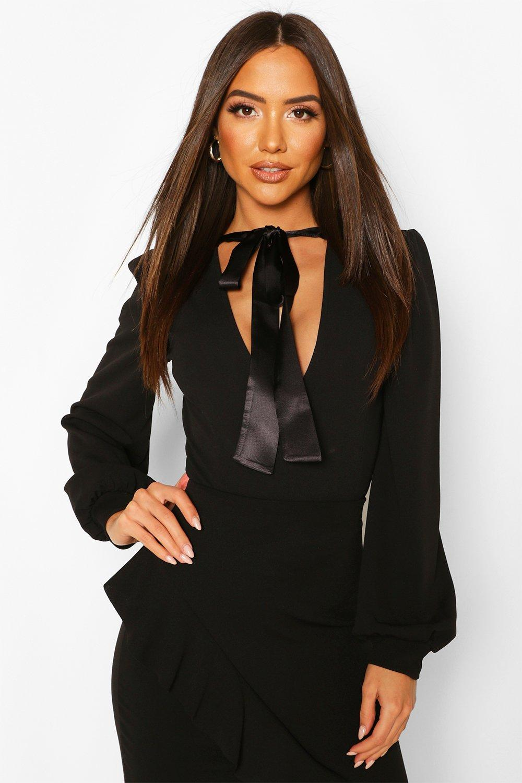 boohoo Womens Satin Neck Tie Plunge Bodysuit - Black - 10, Black