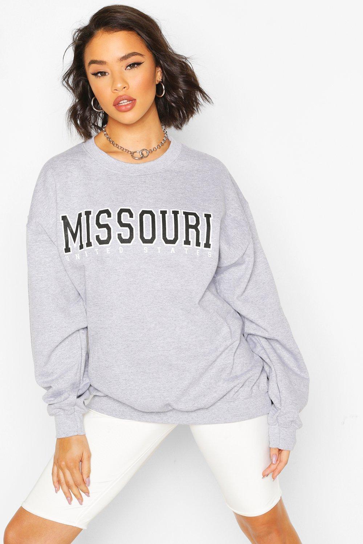 boohoo Womens Missouri Slogan Oversized Sweat - Grey - 16, Grey
