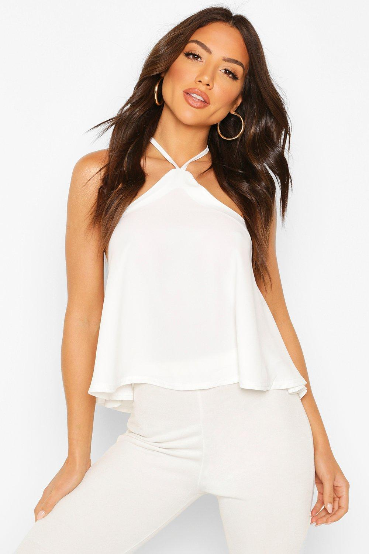 boohoo Womens Halterneck Ruffle Full Hem Woven Cami - White - 8, White