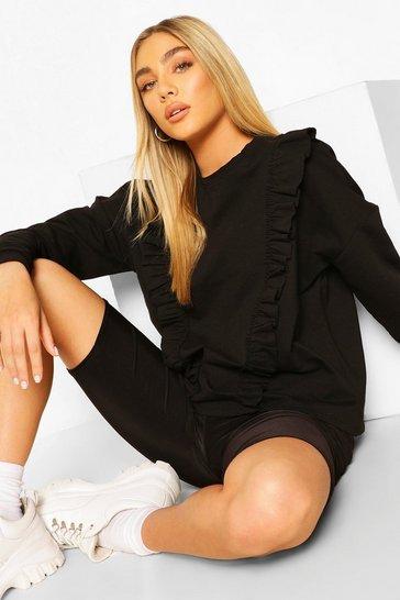 Black Frill Trim Sweater